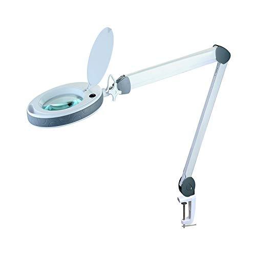 Lumeno dimmbare LED Lupenleuchte Serie 851X mit großer 152mm Echtglaslinse in 3 oder 5 Dioptrien einstellbare Helligkeitsstufen, Arbeitsleuchte/Lupenlampe 5 -