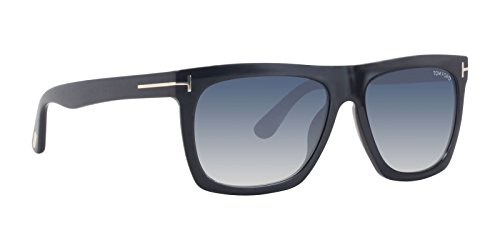 Tom ford ft0513 01w 57, montature unisex-adulto, (nero lucido\\blu grad), 57.0