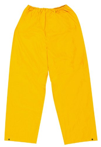 MCR Safety 200PWXL Classic PVC/Polyester Elastic Waist Pants with Plain Front, Yellow, X-Large by MCR Safety (Front Pant Plain Polyester)