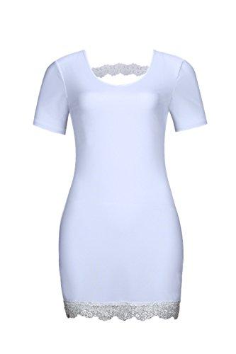 Le Donne Eleganti A Maniche Corte Bodycon Party Mini Vestito Scollato Lace White