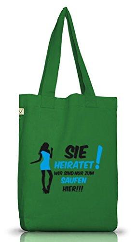 Shirtstreet24, BRAUT - SIE HEIRATET! WIR SIND NUR..., JGA Jutebeutel Stoff Tasche Earth Positive Moss Green