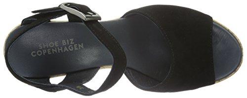 Shoe Biz Damen 0530 Offene Sandalen mit Keilabsatz Schwarz (Cca10)