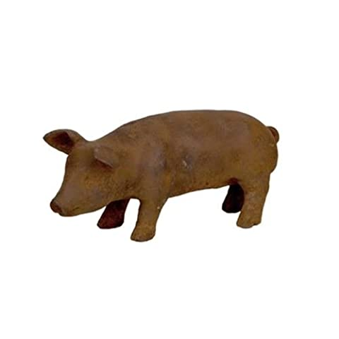 16cm Cast Iron Baby Pig Outdoor Garden Sculpture Statue Animal Ornament Piglet