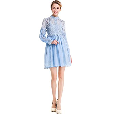 Women's Sweet Pure Silhouette Long Sleeve Lace Silk Skirt Dress , blue , xxxl