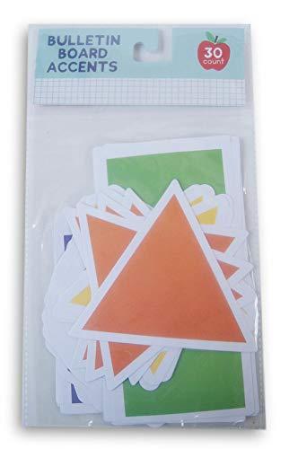 Classroom Bulletin Board Accent Paper Cut-Outs - Formen - Dreiecke, Kreise, Rechtecke, Sterne und Sechsecke - 30 Stück