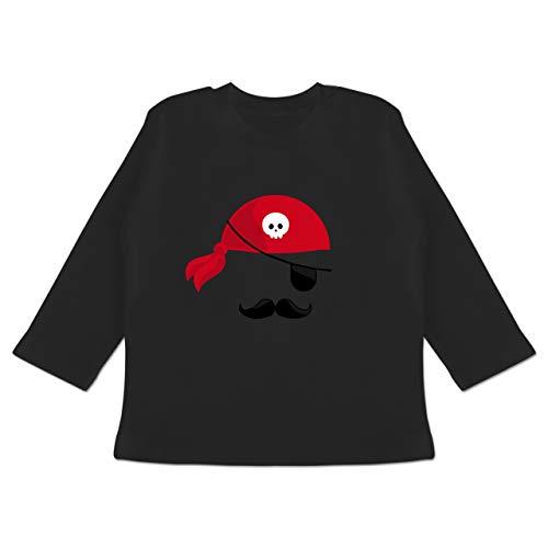 Karneval und Fasching Baby - Pirat Kostüm - 12-18 Monate - Schwarz - BZ11 - Baby T-Shirt Langarm