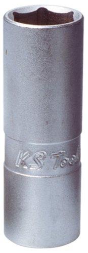 KS Tools 911.3990 - Chiave a bussola dodecagonale per candela con manicotto in gomma, 3/8'', 14 mm
