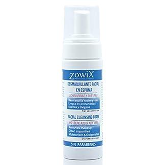 ZOWIX Desmaquillante facial mousse. Limpiador en espuma para ojos, cara y cuello. Foam Natural Piel Seca y Mixta. Acido Hialurónico. Sin parabenos ni Sulfatos. Ideal Veganos. 150ml