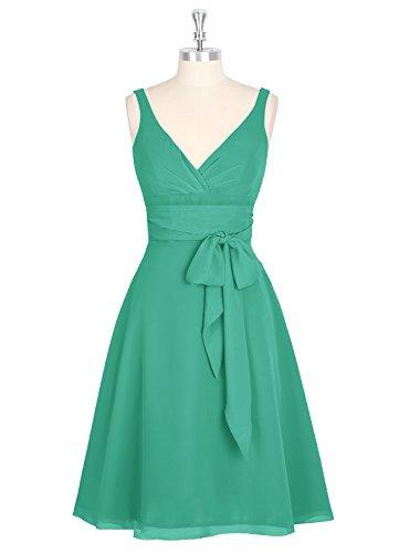 Dresstells, robe courte de demoiselle d'honneur avec nœud sans manches col en V Vert