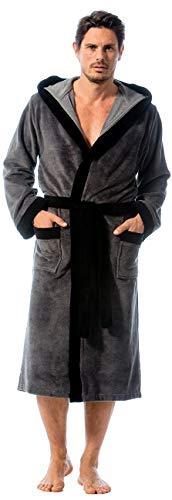 Morgenstern Bademantel Herren Grau mit Kapuze lang leicht Männer Kapuzen-Bademantel Hausmantel Duschmantel Microfaser Viskose Baumwolle Größe XL