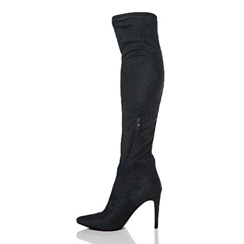 Donna tacco alto elasticizzato coscia alta stivali sopra il ginocchio taglia Scamosciato nero