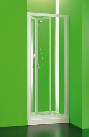 Preisvergleich Produktbild Nischentür | Domi | Echt-Glas / Kunststoff | Fb. weiss | transparent Größe 90-97 cm