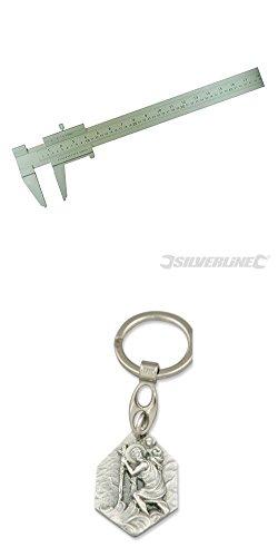 Preisvergleich Produktbild Großer Messschieber, 750 mm, Feinmechaniker-Werkzeug, Schieblehre, Metall, Rechenschieber mit Anhänger Heiliger Christophorus
