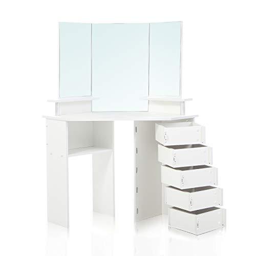 Makika Coiffeuse Table de Maquillage Grand Commode de Maquillage de Coin avec Miroir 5 Ajustable Tiroirs 141,5 x 111 x 52 cm Cassette à Tiroir - Tyra