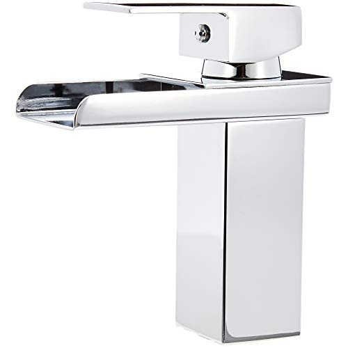 AmazonBasics - Klassischer Wasserfall-Wasserhahn für das Badezimmer - poliertes Chrom -