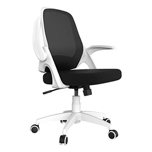 Hbada Kleiner Bürostuhl Drehstuhl Moderner Schreibtischstuhl mit hochklappbaren Armlehnen und Höhenverstellung Weiß