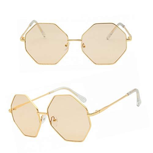 SKCLBOOS Sonnenbrillen Retro Hexagonal Sonnenbrille Frauen Markendesigner Rosa Spiegel Sonnenbrille Männer Vintage Metall Großen Rahmen Oculos de sol UV400