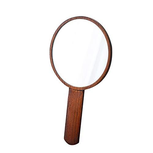Hfyu Kompaktspiegel Schminkspiegel Bad, Tischspiegel Freistehender Tisch-Schminkspiegel Schreibtisch Tragbar für Das Make-up Rasiere Schminkspiegel (Color : Brown) -