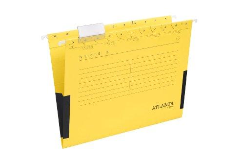 Atlanta by Jalema Hängetaschen Serie E - gelb, Leinenfrösche, inkl. Vollsichtreiter und Blankoschildchen