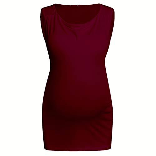LOPILY Basic Einfarbiges Oberteil Umstandstop Ärmellos Still Shirt Umstand Pullunter Lässiges Oberteil für Schwangerschaft Still Nursing Shirts mit Wickeln Schicht (Weinrot, EU-46/CN-3XL)