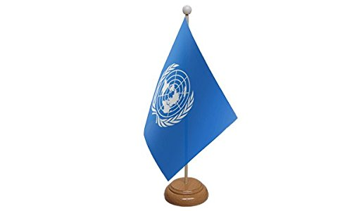 22,9 x 15,2 cm United Nations Vereinten Nationen groß Desktop Tisch Flagge mit Sockel aus Holz & Pole ideal für Party Konferenzen Büro Display -