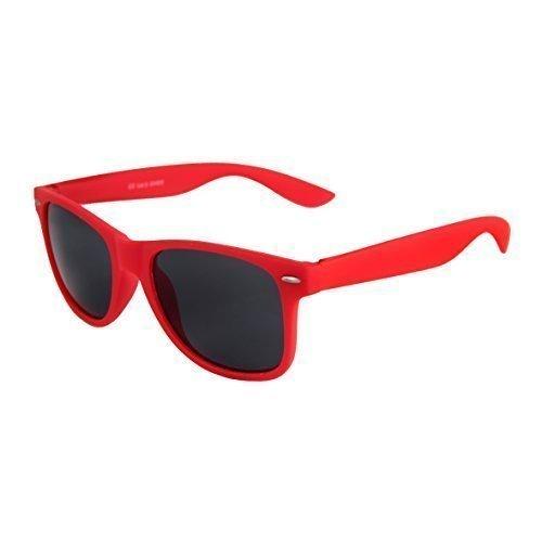 Hochwertige Nerd Sonnenbrille Rubber im Wayfarer Stil Retro Vintage Unisex Brille mit Federscharnier - 96 verschiedene Farben/Modelle wählbar (Rot - (Für Outfits Nerd Männer)