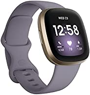 Fitbit Versa 3,Soft Gold/Thistle, Thistle/Soft Gold Aluminum, Small and Large bands included