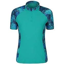 Mountain Warehouse Haut Anti-UV pour Femmes avec col zippé - UPF50, séchage Rapide, Coutures Plates - Natation, extérieur, sous Une Combinaison de plongée Sarcelle 40