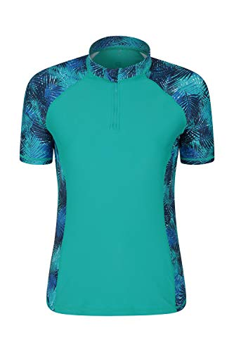 Mountain Warehouse Kurzärmeliges Badeshirt mit UV-Schutz und Reißverschlusskragen für Damen - LSF50+, schnelltrocknends Rash Guard, Flache Nähte Blaugrün DE 34 (EU 36)