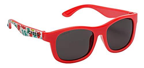 Cressi Unisex- Babys Teddy Sunglasses Polarisiert Kinder Sonnenbrille, Aqua Pet/Rot/Geräucherte Linse, 0/2 Jahre