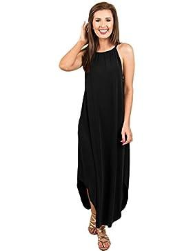 Vestidos mujeres Sling cuello redondo manga corta sexy de falda larga de gran tamaño