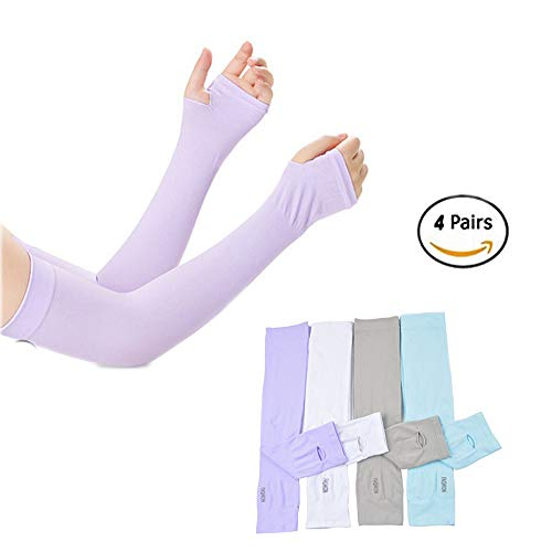 Sunland UV-Schutz für die Arm Frauen Herren Schnell Trocknen Sunblock Ärmel kühlen Arm Ärmel Für Outdoor Sports , Radfahren , Fahren , Laufen 4Paar, Grey+White+Blue+Purple
