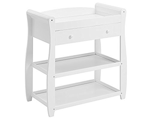 Babymore Sleigh Changer with Drawer (White)  Stylish and practical designed Safe place for changing With 1 drawer and 2 shelves for baby changing essentials 1