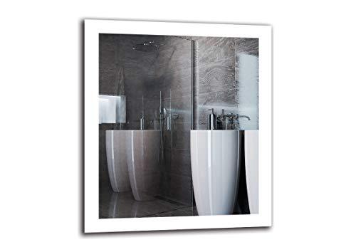 Espejo LED Premium - Dimensiones del Espejo 70x80 cm - Espejo de baño con iluminación LED - Espejo...