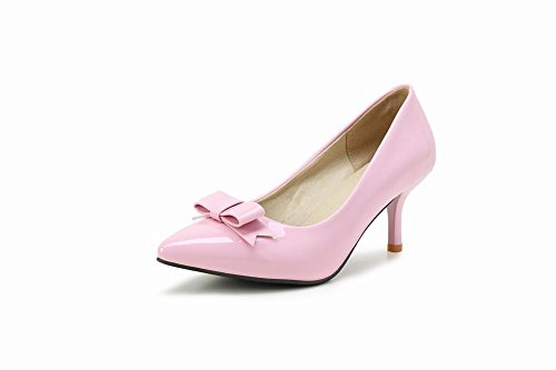 Mee Shoes Damen süß mit Schleife spitz Kitten heel Lackleder Pumps Pink