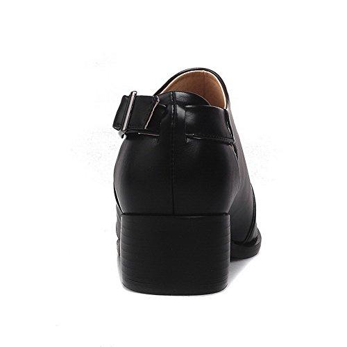 AllhqFashion Femme Rond Boucle Pu Cuir Couleur Unie à Talon Bas Chaussures Légeres Noir