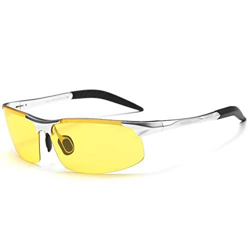 AORON Sonnenbrille Für Herren Und Damen, Sonnenbrille in Polarisierten Farben, Nachtsichtbrille, Aluminium-Magnesium-Material, Polarisierte Farbe, UV-Schutz,Silver