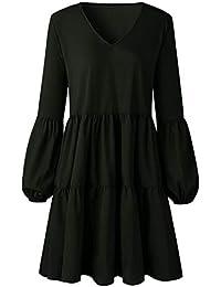 f7475e010f9a5 SKEPO Tunika Kleid Damen Langarm Gerafft Tiefe V-Ausschnitt Lose Casual  Swing Kleid Minikleid Blusenkleider