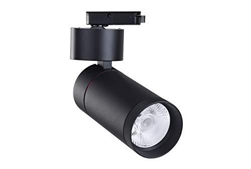 FactorLED Foco Negro LED 30W LIMA para Carril Monofásico, Foco Orientable, Foco de iluminación comercial, Foco Carril LED para escaparates, 3 Años de Garantía (Blanco Cálido)
