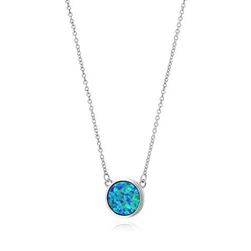 Blau Opal Anhänger Kette 925 Sterling Silber Damen Halskette mit 45 CM Kette Schmuck Geschenk für Frauen Mädchen - Pfaublau