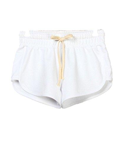 EMIN Damen Baumwolle Sporthose Shorts Hot Pants Strand Running Gym Yoga Hosen Weiß