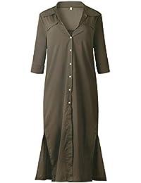 BBestseller-Vestidos Vestido para Mujer Otoño Manga Larga con Abertura Lateral en el botón para Mujer Fiesta Vestir Ropa…