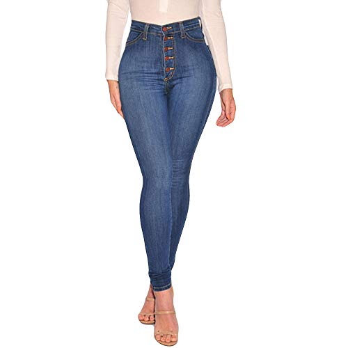 Vectry Jeans Damen Slim Fit Skinny Fit Jeans Jogger Push Up Ankle Straight Leg Mit LöChern Stretch Denim Relaxed Hose Aufnäher Hosen, Hohe Taille Knopf Bleistifthosen Jeanshosen(Blau,L) - Ein-knopf-stretch-hose
