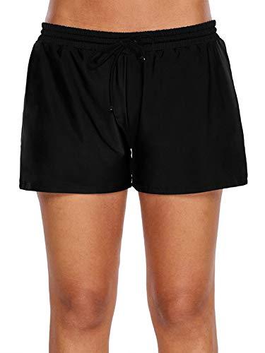 WILLBOND Damen Badeanzug Shorts Tankini Schwimmhose Side Split Plus Size Bottom Boardshort Sommer Strand Bademode Trunks - schwarz - Large (24 Zoll Swim Trunks)