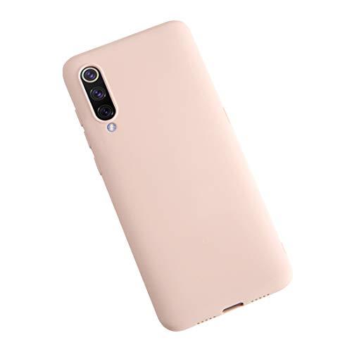 XunEda Funda para Xiaomi Mi 9 Ultra Ligero Funda Suave Caso Silicona Liquida Carcasa Protectora Case +Protector de Pantalla para Xiaomi Mi 9 SE Smartphone(Rosa Claro)