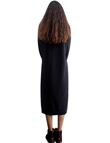 Youlee Donna Rotonda Collare Lungo Maglione Vestito Nero Fit EU 38-46