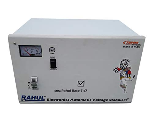 Rahul Base-7 c7 Kva/28 Amp 3 Booster Input 140-280 Volt Output 220 Volt Indoor,Outdoor/D.J. Party,Light,sound System/Led Light/Home,Farm House,Office,use the Light,Machine or any Home Appliances to Increase The Voltage, Mainline Use Up to 7 Kva Load Automatic Copper Voltage Stabilizer