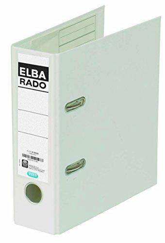 ELBA Kunststoff-Ordner rado plast A5 hoch 7,5 cm breit weiß mit Einsteckrückenschild Ringordner Aktenordner Briefordner Büroordner Plastikordner Schlitzordner