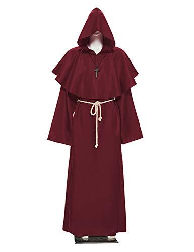 TUTOU Halloween dekorative Requisiten, Kostüme, Mönche, Mönche, Roben, Kostüme, Cosplay, Kostüme, Rollenspiele Kostüme,Rot,M (Haus Robe Kostüm)