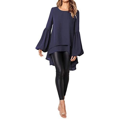 Bluelucon Sexy Oberteil Damen Herbst Elegante Langarmshirts Damen Bluse Tunika T-Shirt V-Ausschnitt ()